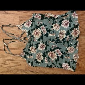 Floral cross back tank